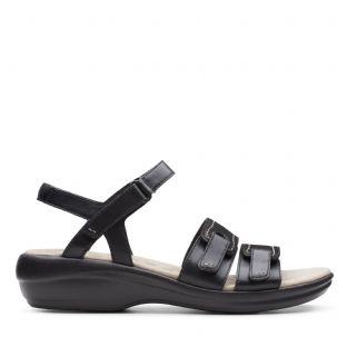 Clarks Womens Alexis Shine Black Sandals